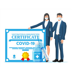 People behind covid-19 vaccination passport vector