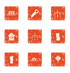 Provide energy icons set grunge style vector