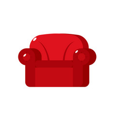 Red soft armchair upholstered furniture isolated vector