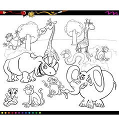 safari animals coloring book vector image