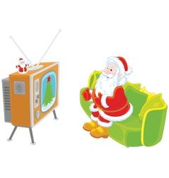 Santa watching TV vector