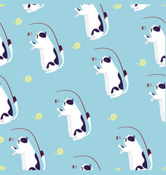 seamless pattern cat play with fluffy striped vector image