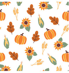Seamless pattern with orange pumpkins crop vector