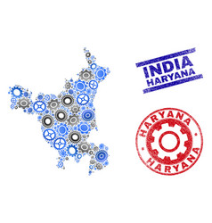 Service collage haryana state map and vector