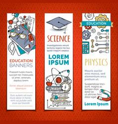 Set cartoon education vertical banners vector