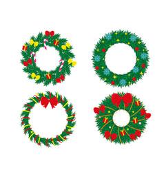Set decorated christmas wreaths vector