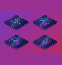 Set isometric line musical tuning fork stereo vector