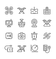 Set line icons of quadrocopter vector