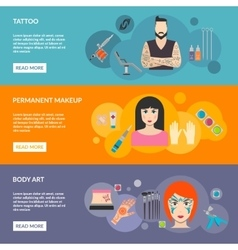 Set of body art tattoo makeup with description vector