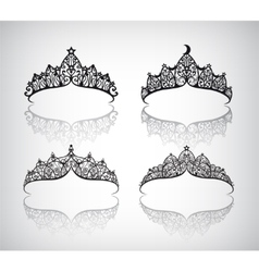 set of hand drawn lace beautiful decorated vector image