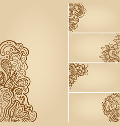 Set of henna tattoo floral banners and business vector
