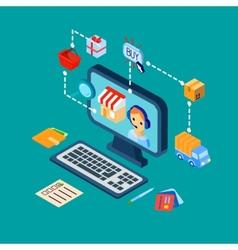 Shopping e-commerce icons set isometric vector image