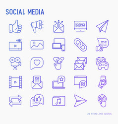 social media thin line icons set vector image