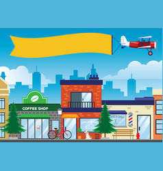 Street and shop in the city in flat style vector