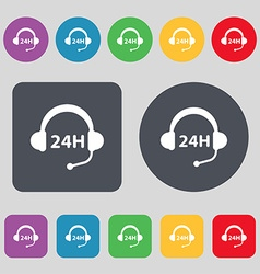 Support 24 hours icon sign A set of 12 colored vector image