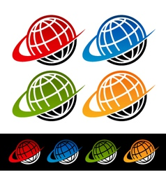 Swoosh Earth Logo Icons vector image