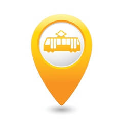 Tram icon yellow map pointer vector