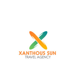 Travel agency xanthous sun emblem vector