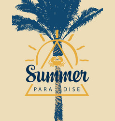 Travel banner with palm and words summer paradise vector