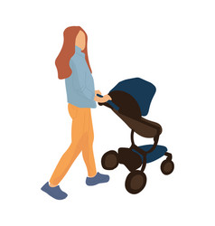 trendy mother with baby carriage cartoon woman vector image