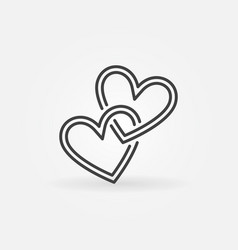 Two crossed hearts linear icon love vector