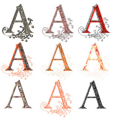 various combination fishnet letter a vector image