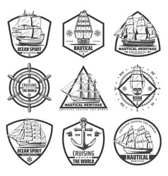 vintage monochrome marine labels set vector image