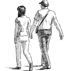 walking pair vector image