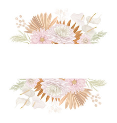Watercolor floral wedding frame pampas vector