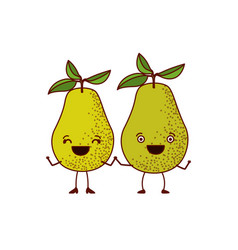 White background with pair of pear fruits vector