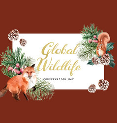 Winter animal frame design with fox squirrel vector