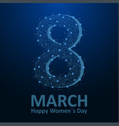 womens day low poly card 8 march made by points vector image