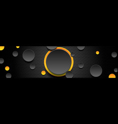 yellow and black glossy circles on dark perforated vector image