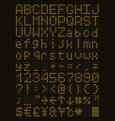 Yellow led alphabet and numbers vector