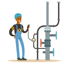 black oilman worker on an oil pipeline controlling vector image vector image