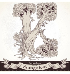Fable forest hand drawn by a vintage font - K vector image