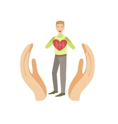 Guy holding heart with cardiogram protected by two vector