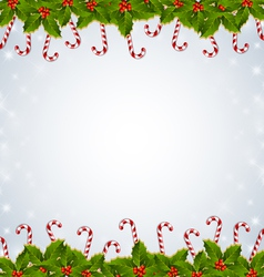 Holly and candy canes christmas decoration vector