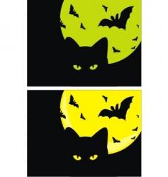 kat bats and moon halloween vector image