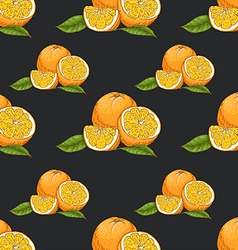 Seamless pattern with oranges on dark background vector image