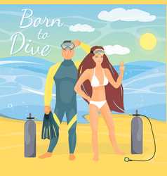 diving couple in flat style vector image vector image