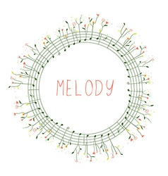 Musical frame with notes and flowers vector image vector image