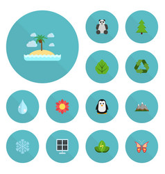 flat icons foliage emperor tree and other vector image vector image