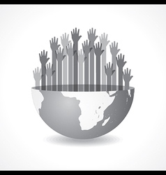 Grey raised hand on the half earth symbol vector image vector image