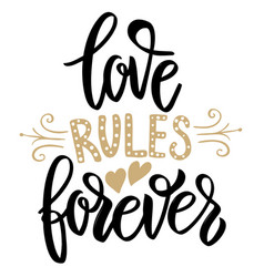 love rules forever hand drawn lettering phrase on vector image