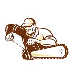 Lumberjack Tree Surgeon Arborist Chainsaw vector image