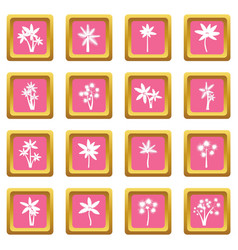 palm tree icons pink vector image