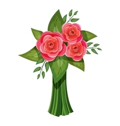 Pink roses bouquet icon isometric 3d style vector image