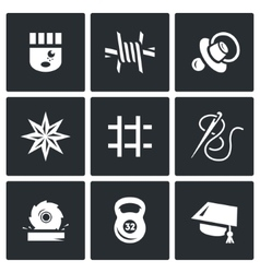 Set of Prison Icons Prisoner Isolation vector image