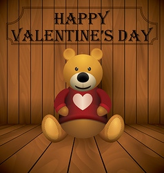 valentine day Teddy bear brown stuffed toy print vector image vector image